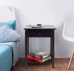 Casual Home Night Owl Nightstand with USB Ports