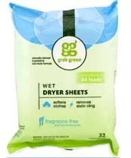 Grab Green Fragrance-Free Natural Wet Dryer Sheets